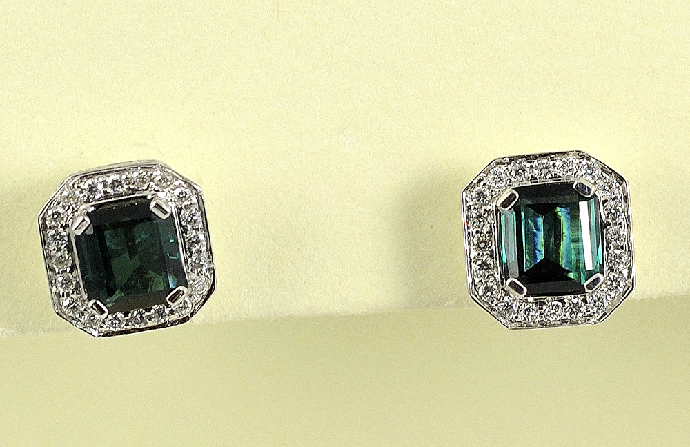 Elegant 18K White Gold Tourmaline and Diamond Earrings