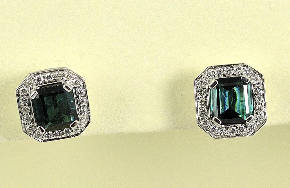 Elegant 18K White Gold Tourmaline and Diamond Earrings