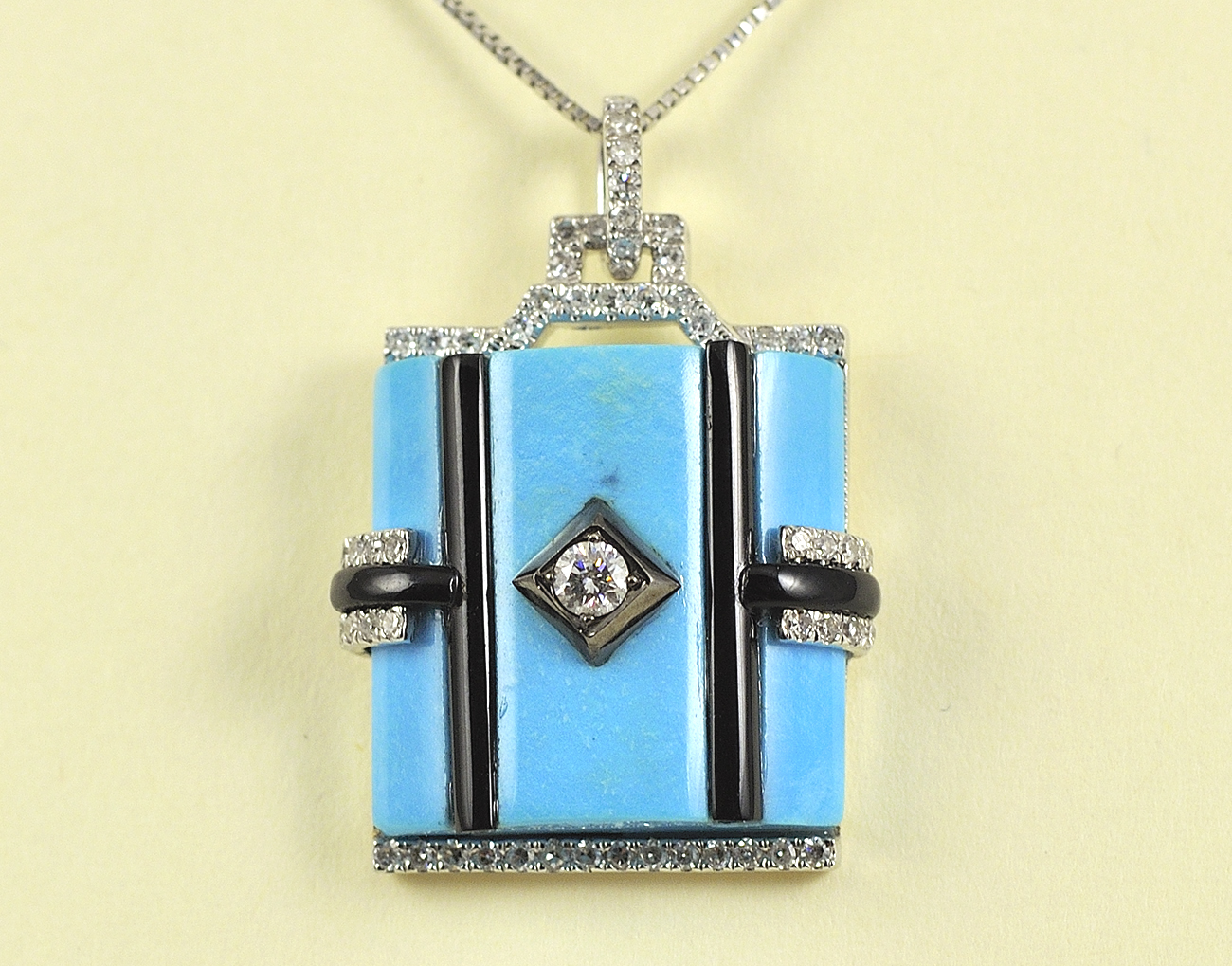 Unique 14K White Gold Turquoise, Onyx, and Diamond Pendant