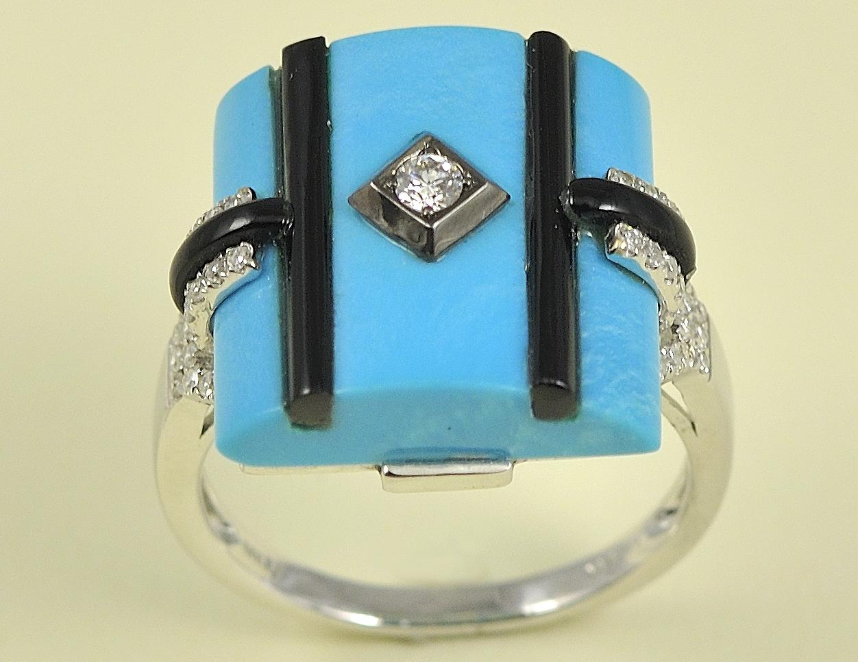 Amazing 14K White Gold Turquoise, Onyx, and Diamond Ring