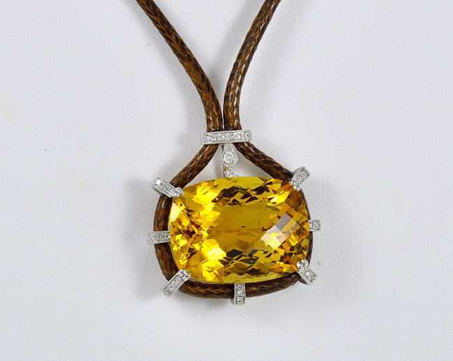 30 Carats Citrine and Diamond Pendant