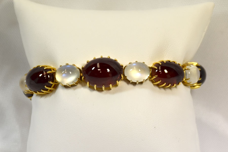 Unique Silver and 14K Yellow Gold Garnet, Moonstone, and Diamond