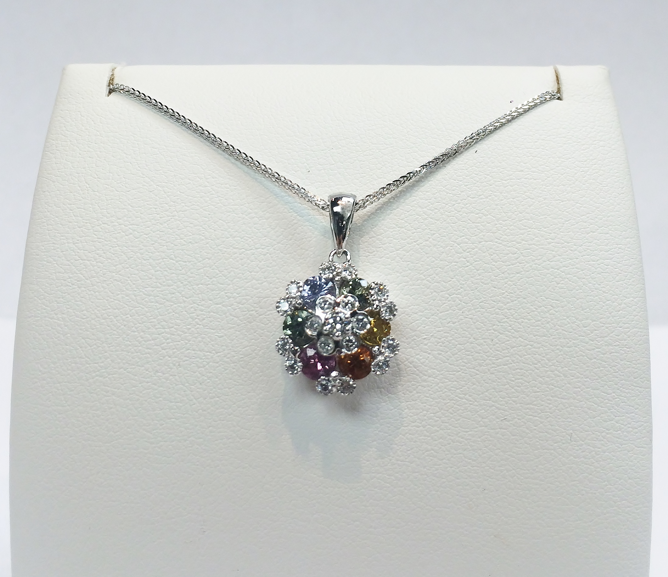 18K WG Color Sapphires Diamond Pendant