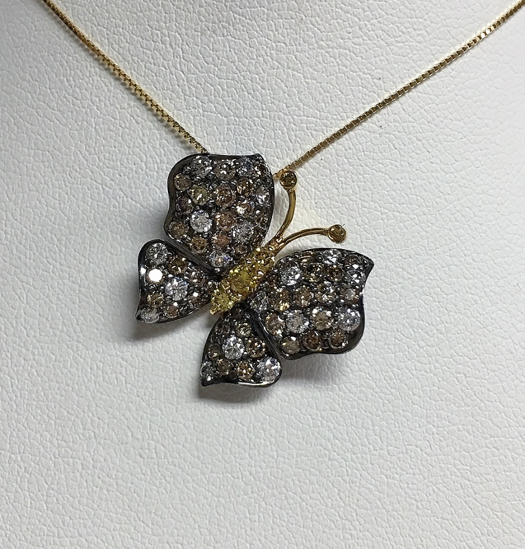 18K White Gold Butterfly Diamond Pendant