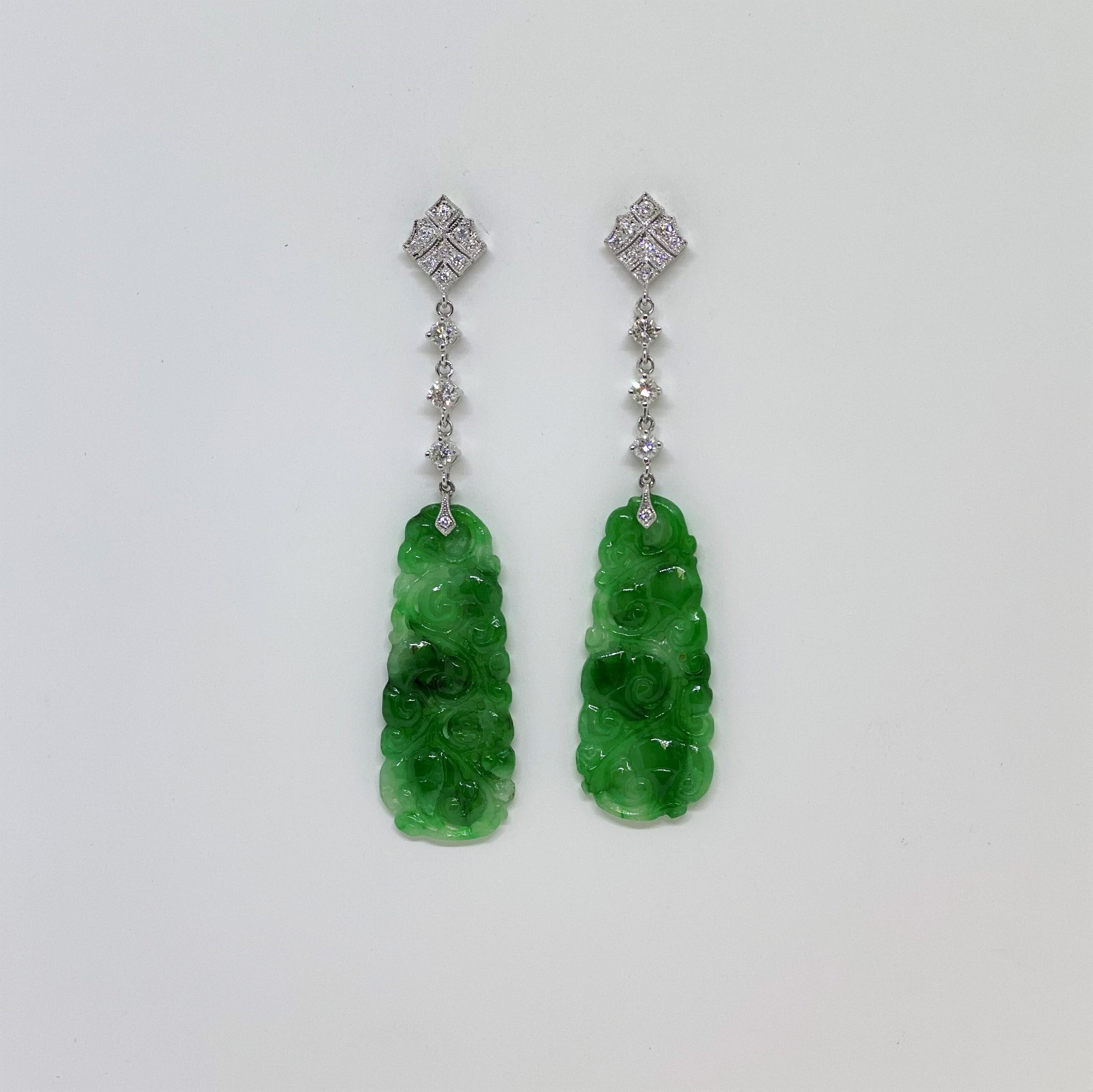 Natural Green Jade Diamond Dangling Earrings