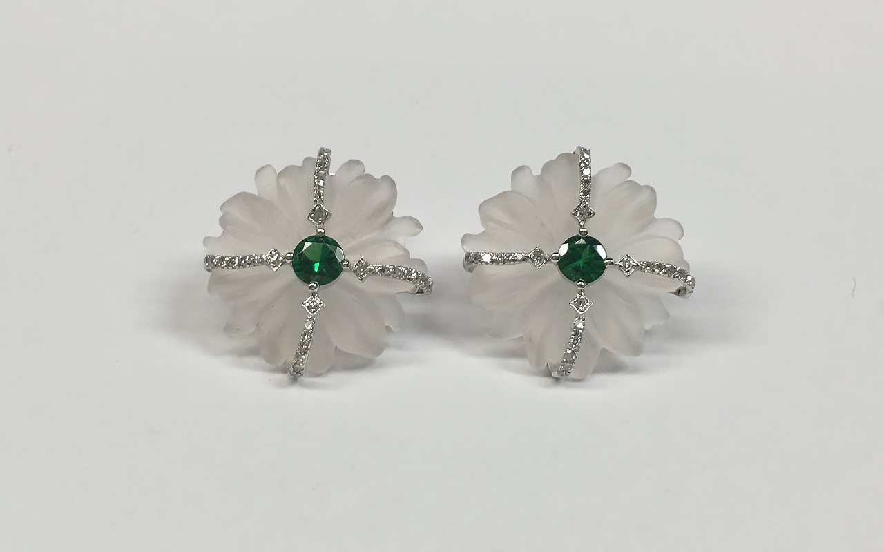 Quartz, Green Garnet, and Diamond Earrings in White Gold