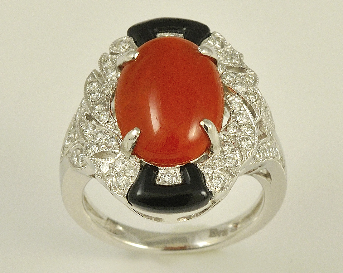 Lovely 18K White Gold Coral, Onyx, and Diamond Ring