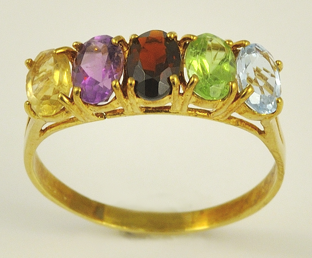 Lovely 14K Yellow Gold Multi-Colored Gem Ring