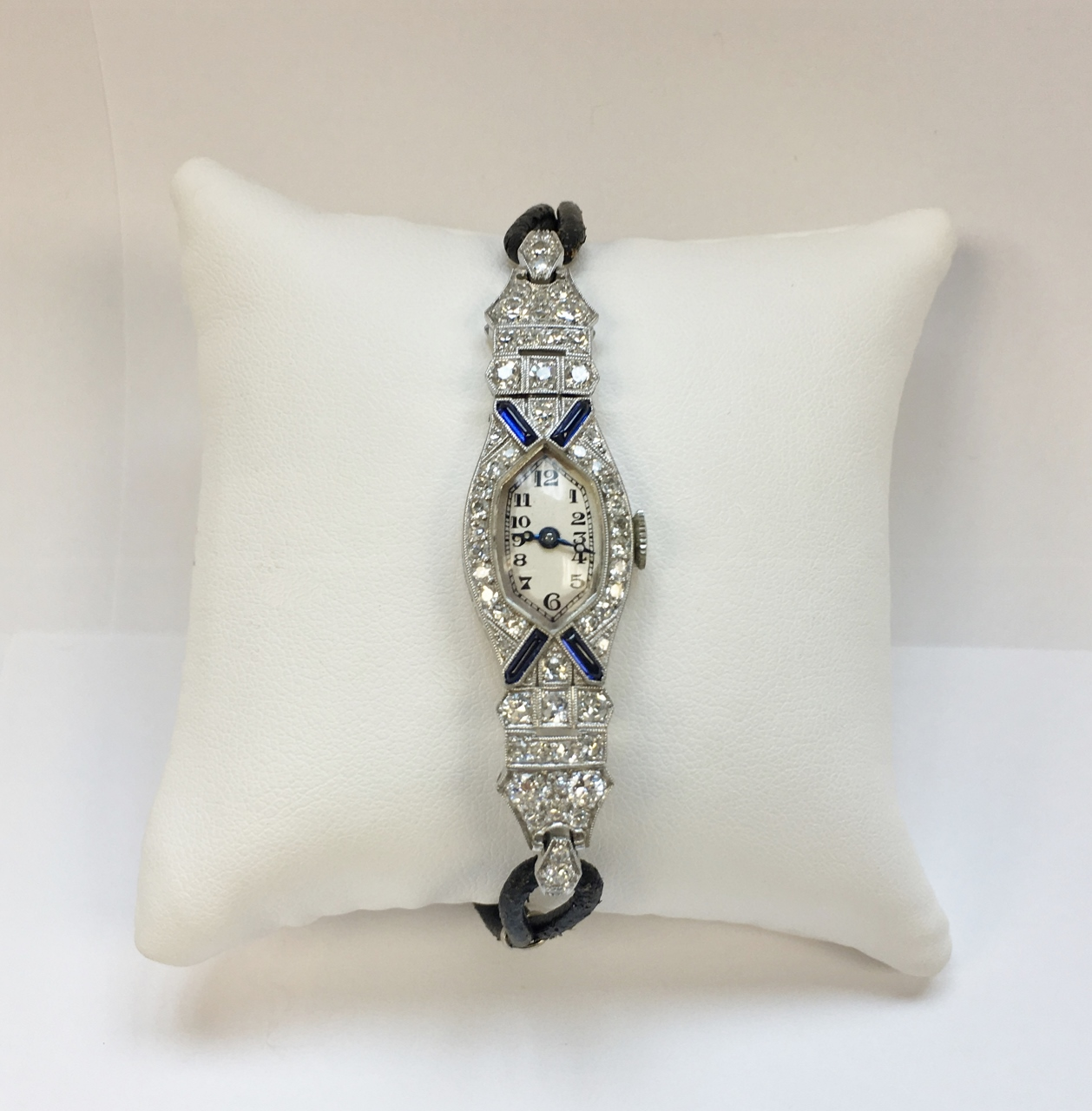 14K White Gold Antique Diamond Watch