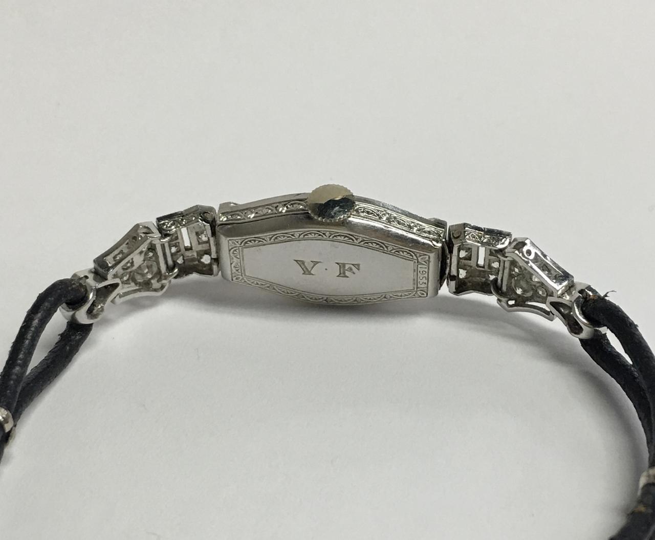 14K White Gold Antique Diamond Watch