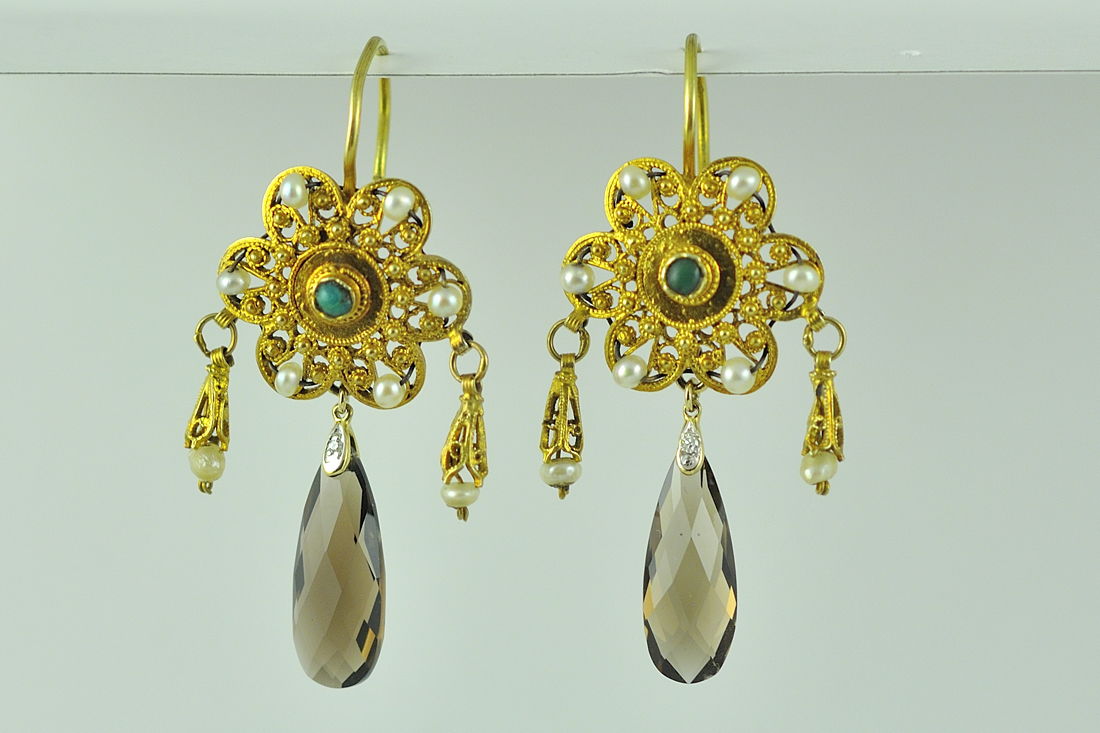 18K Yellow Gold Turquoise, Pearl, Diamond, and Quartz Earrings