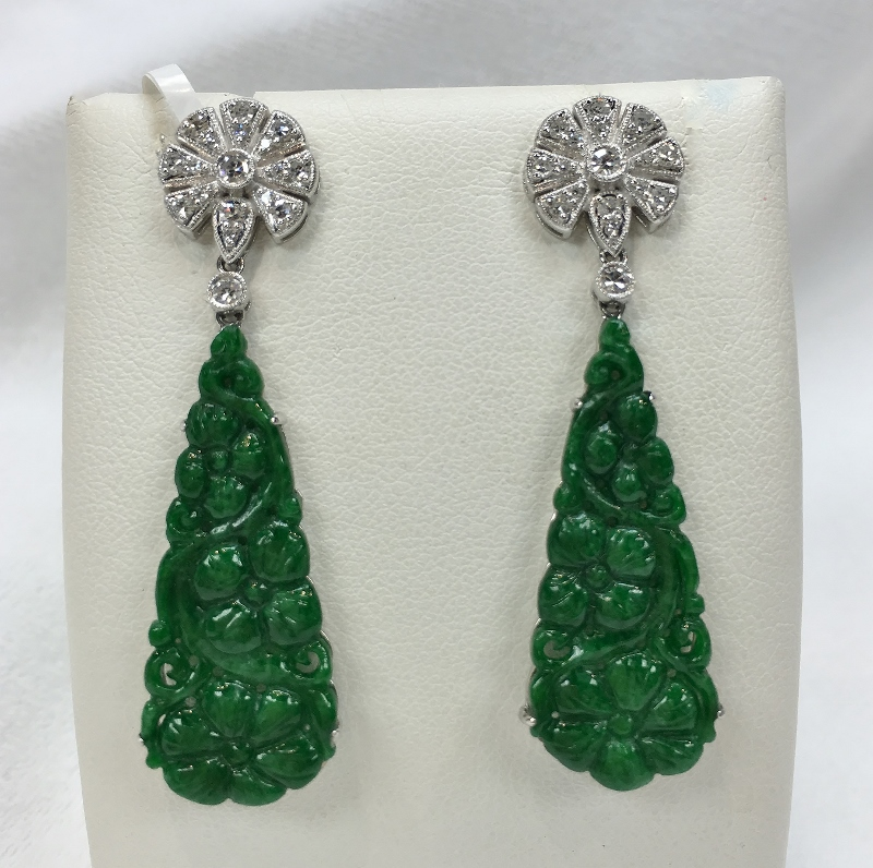 18K White Gold Natural Green Jade & Diamond Earrings
