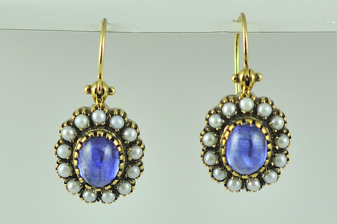 Victorian Style Kyanite and Pearl Earrings