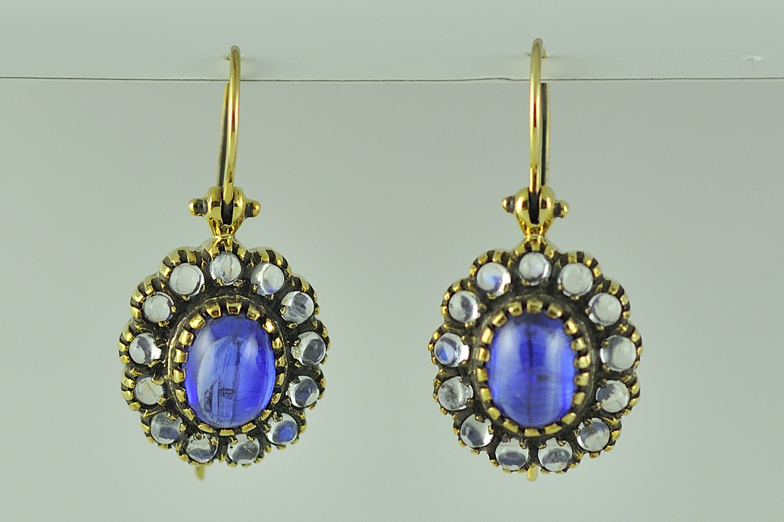 Victorian Style Yellow Gold Kyanite and Moonstone Earrings