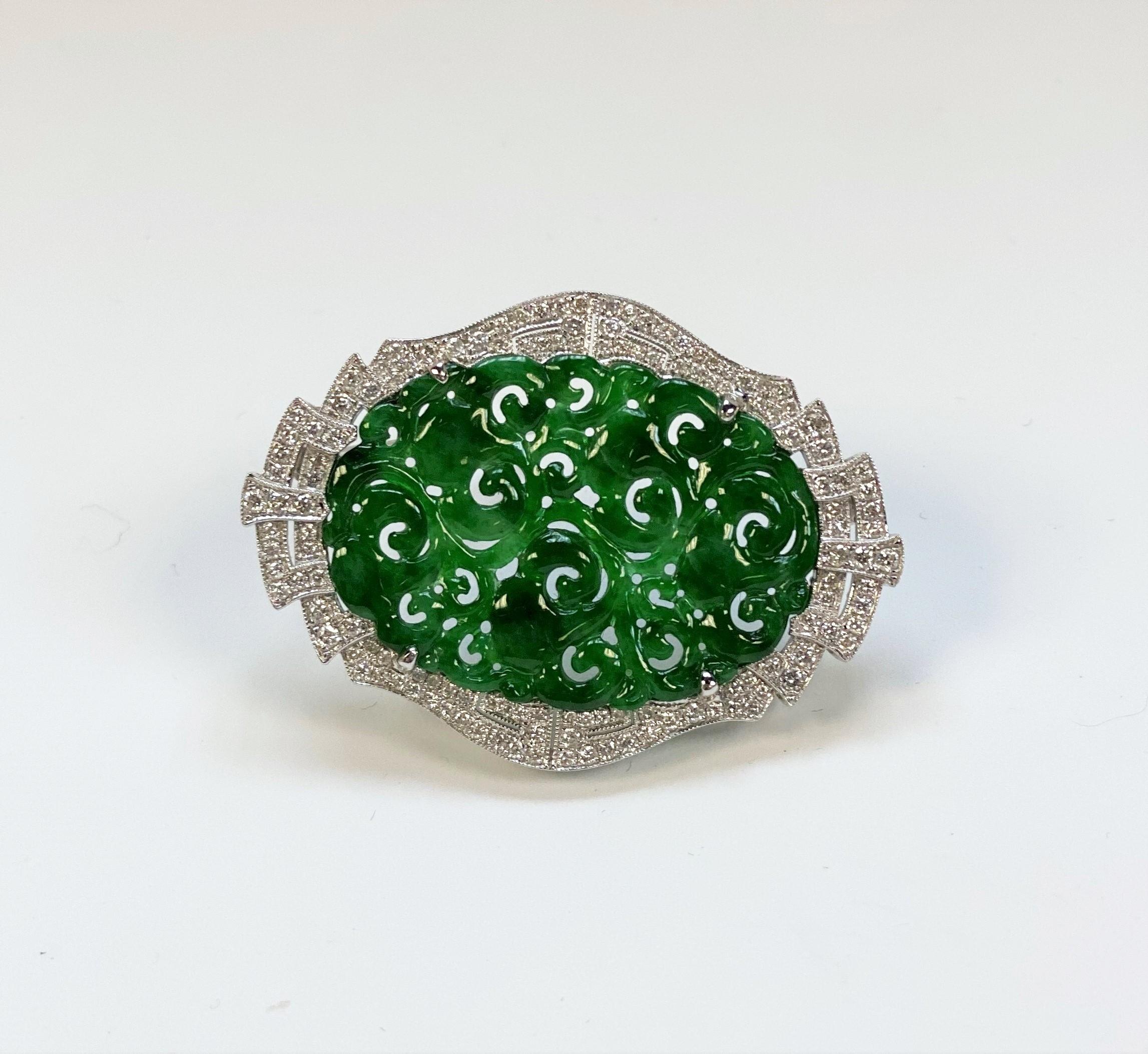 Natural Green Jade Diamond Pendant Brooch
