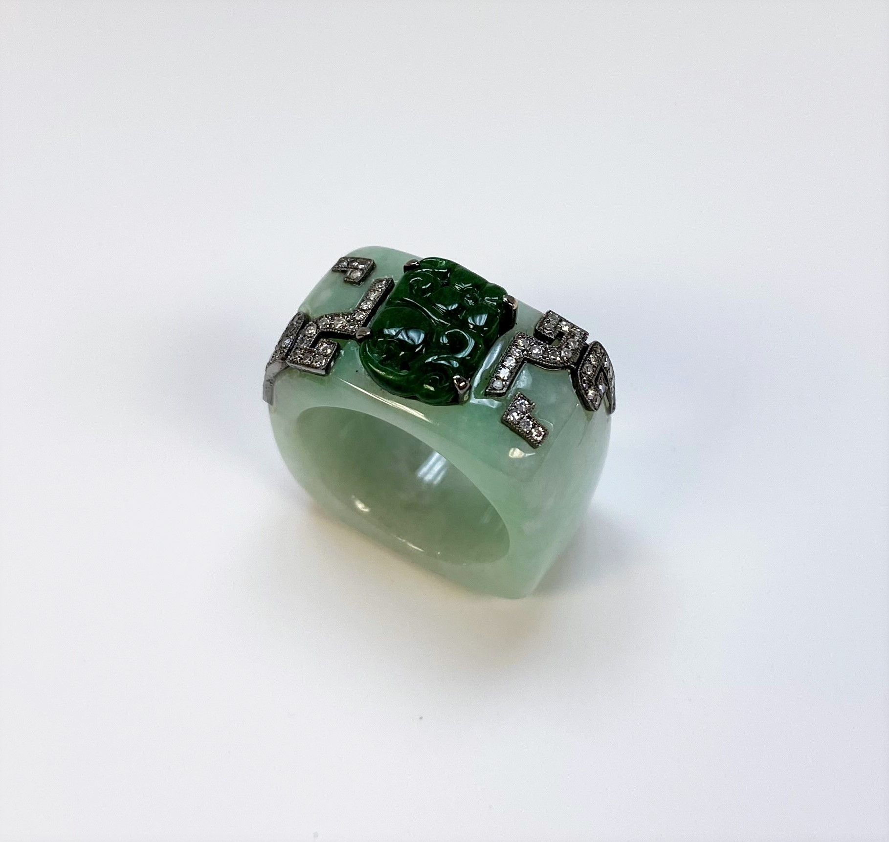 Natural Green Jade Ring With Diamonds