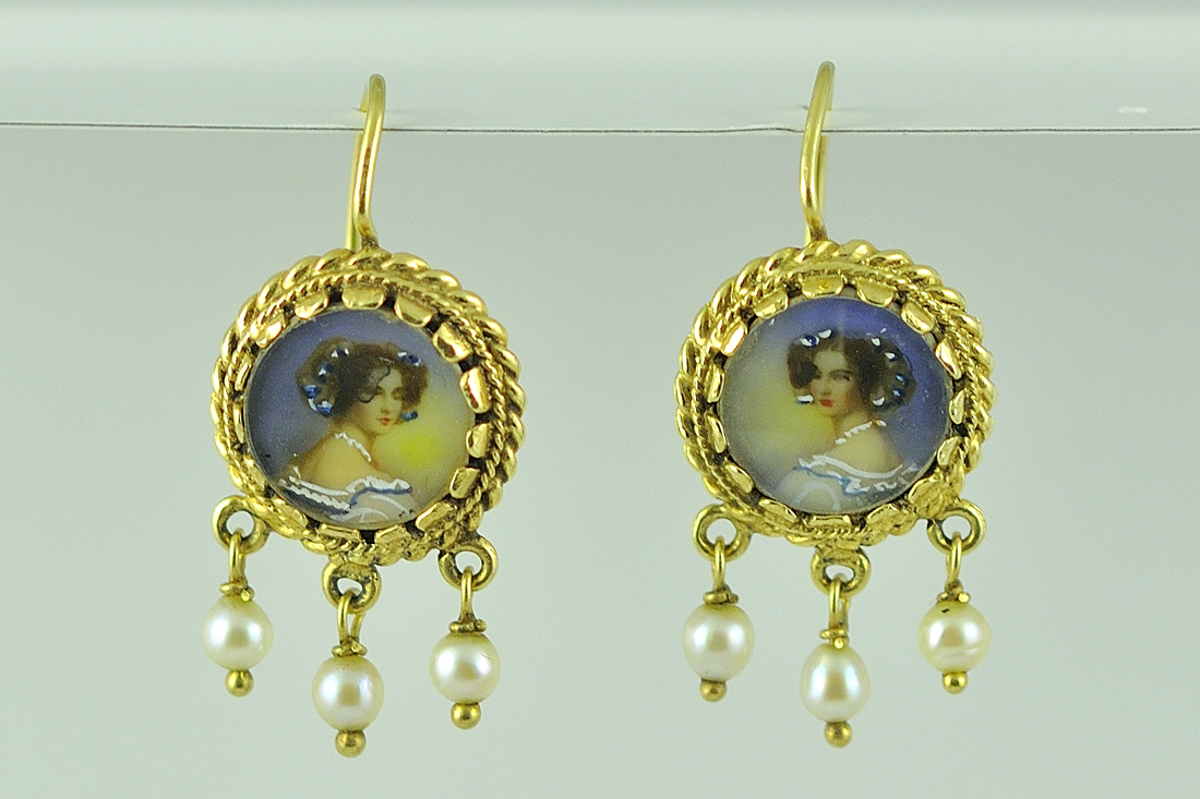 Antique Victorian Yellow Gold Painted Portrait and Pearl Earring