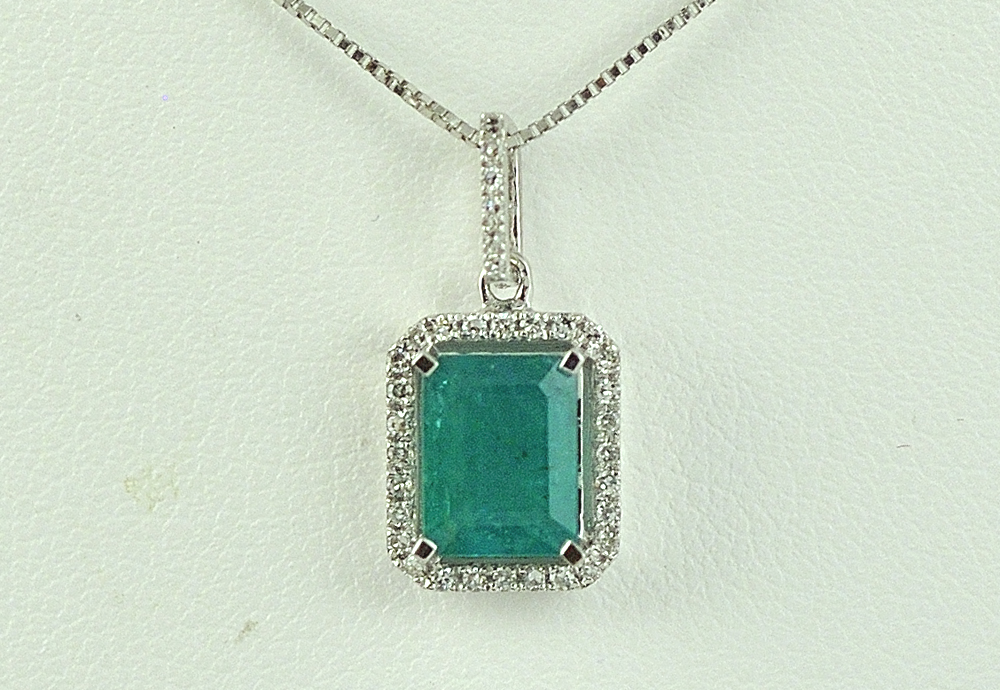 Lovely 14K White Gold Emerald and Diamond Pendant