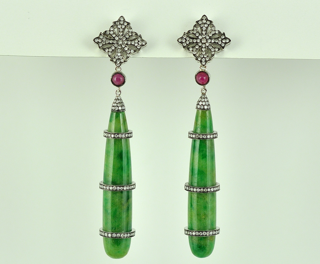 Amazing 18K White Gold Jade, Ruby, and Diamond Earrings