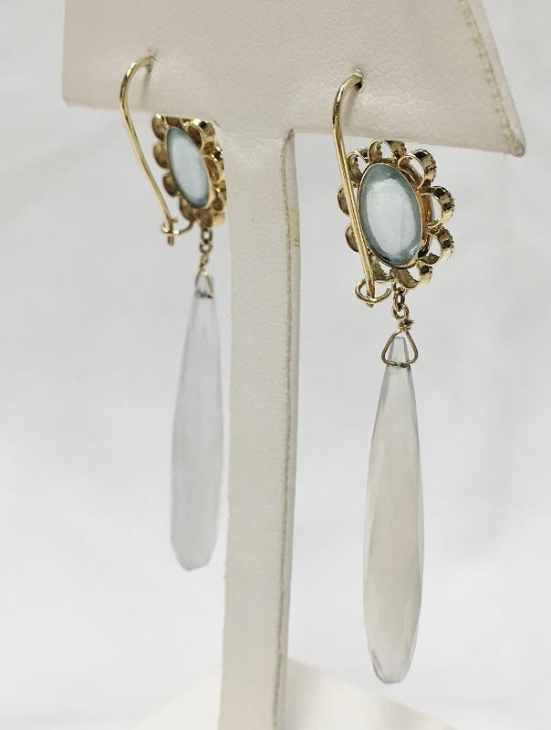 14K Yellow Gold Aquamarine & Chalcedony Earrings