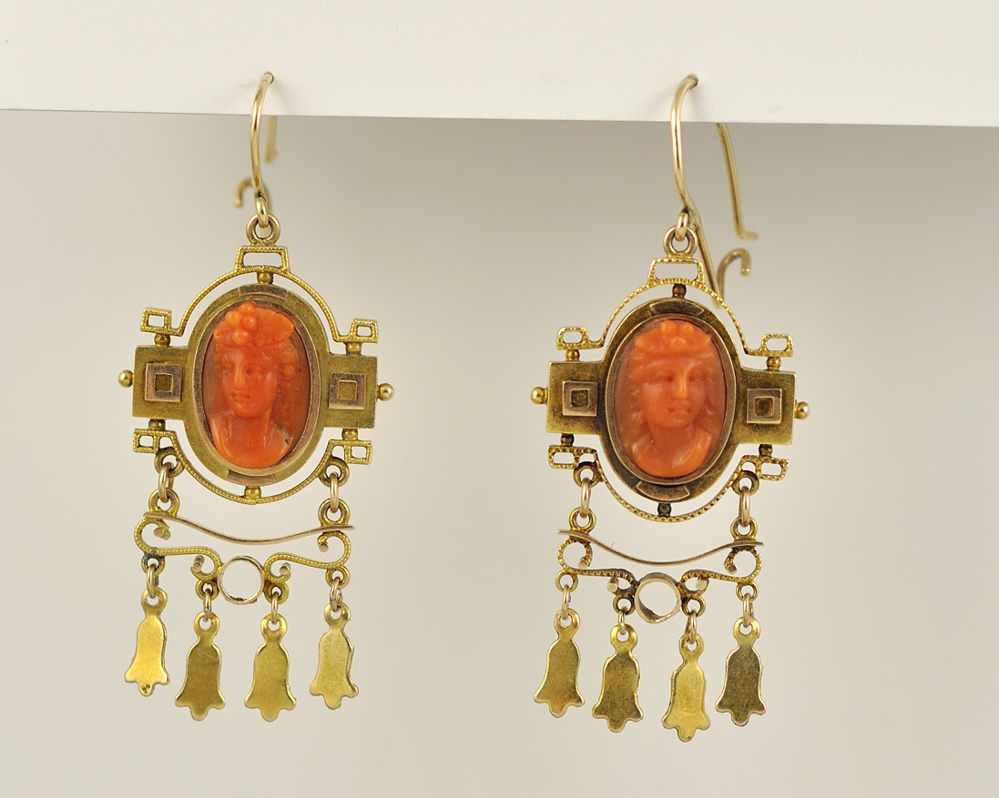 14K Victorian Coral Earrings