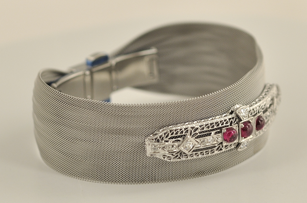 Stainless Steel Mesh Style Ruby and Diamond Bracelet