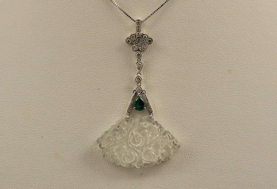 Icy White Jade Diamond Pendant in 18K White Gold