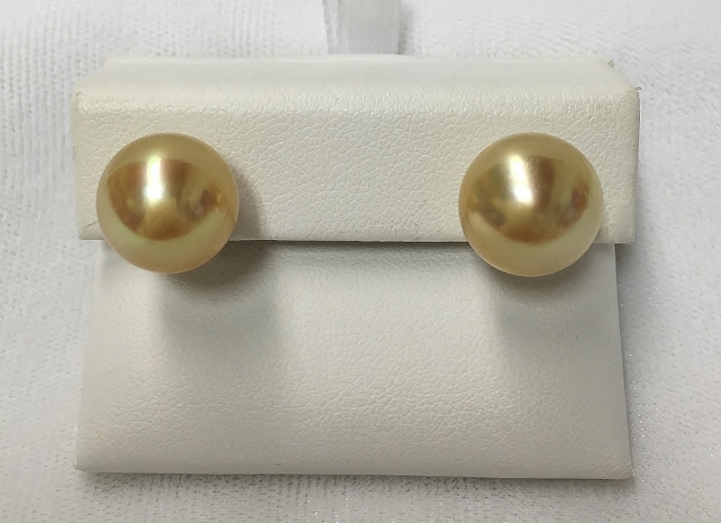 Yellow Gold South Sea Pearl Earrings