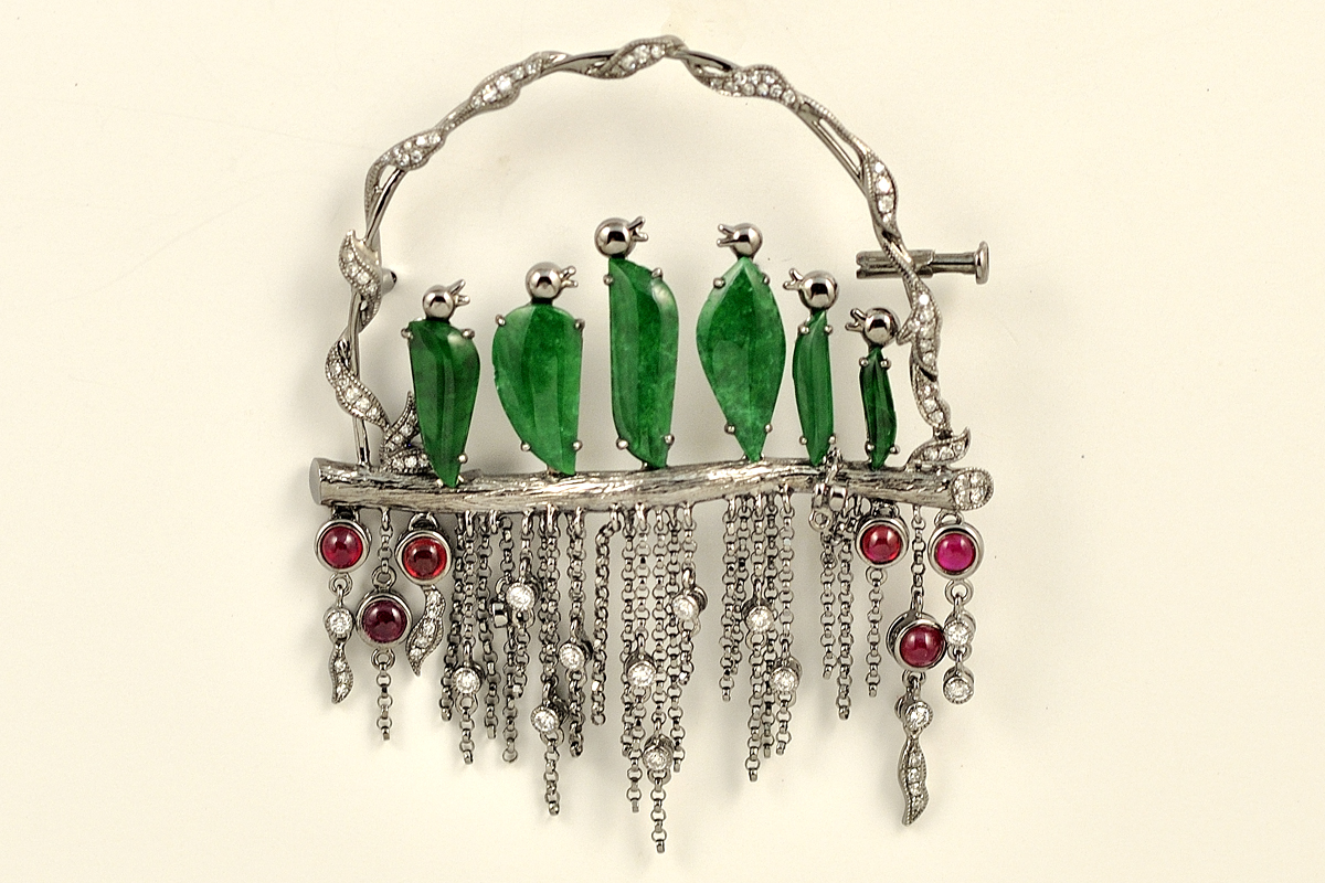 18K White Gold Jade, Ruby and Diamond Brooch