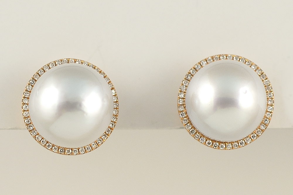 Rose Gold South Sea Pearl and Diamond Earrings