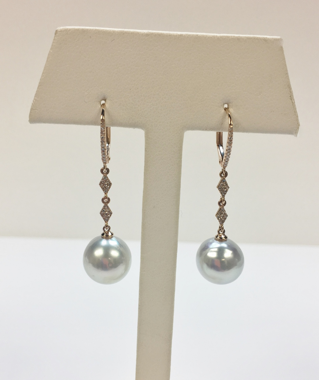 Rose Gold South Sea Pearl Dangling Earrings