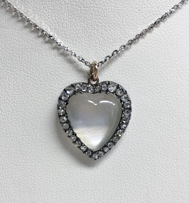 An Estate Pendant Set With Heart Shaped Moonstone