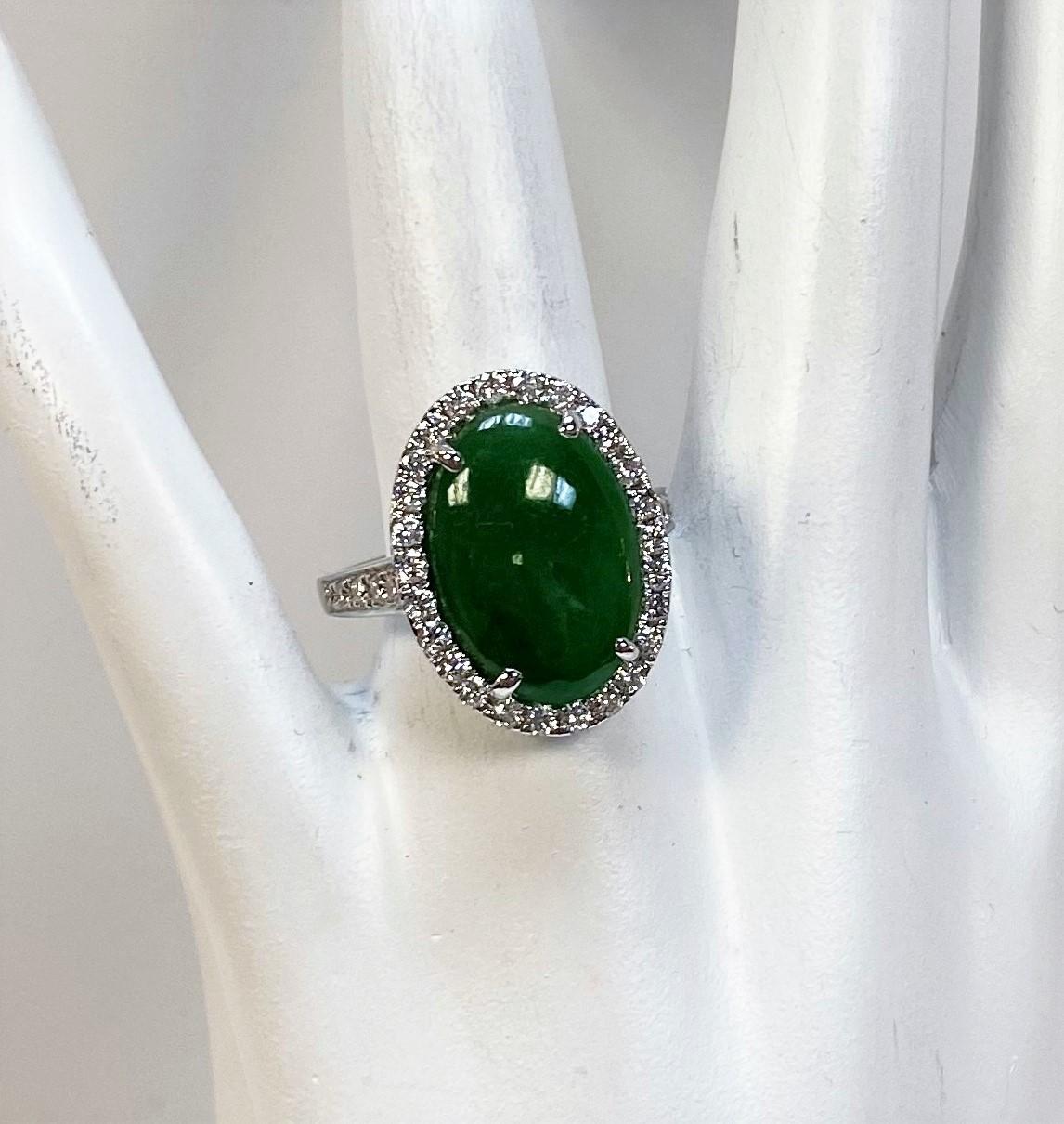 White Gold Natural Green Jade Diamond Ring