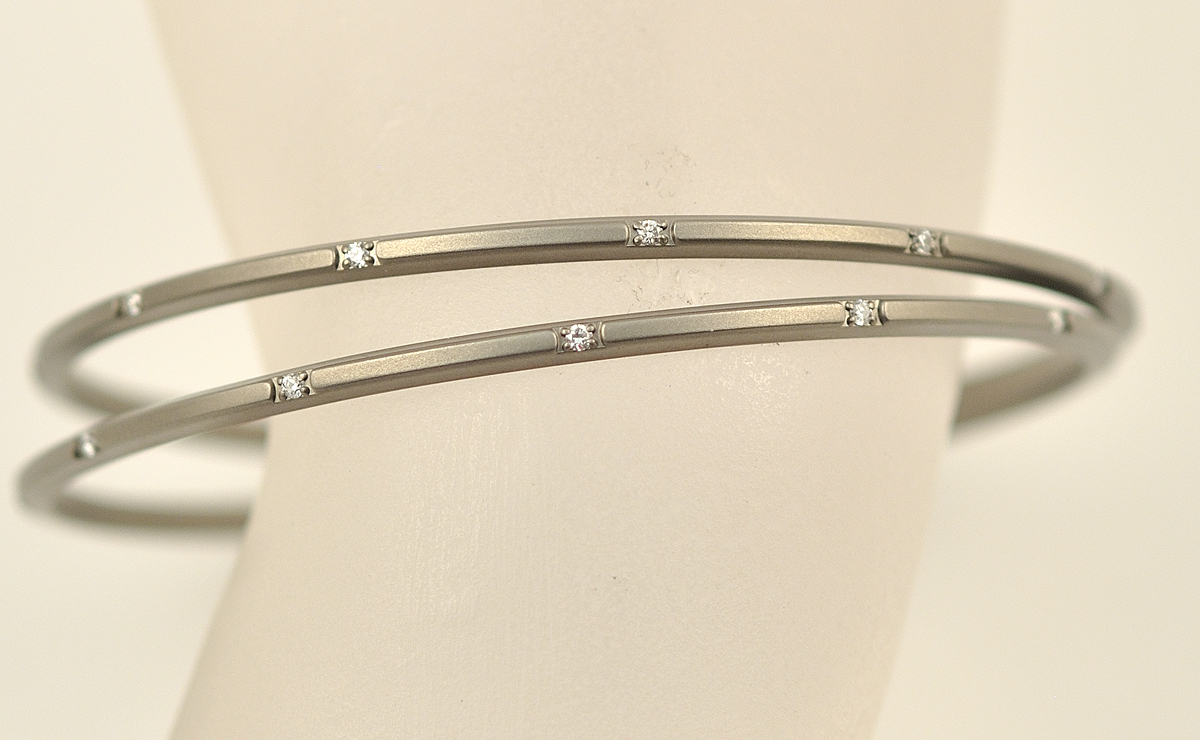 Titanium Bangle With Diamonds