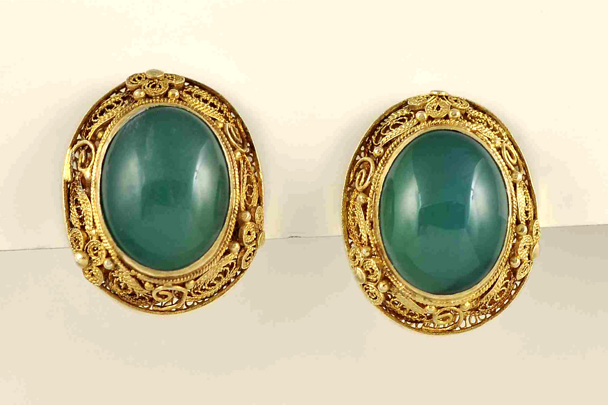 Estate Earrings with Green Carnelian
