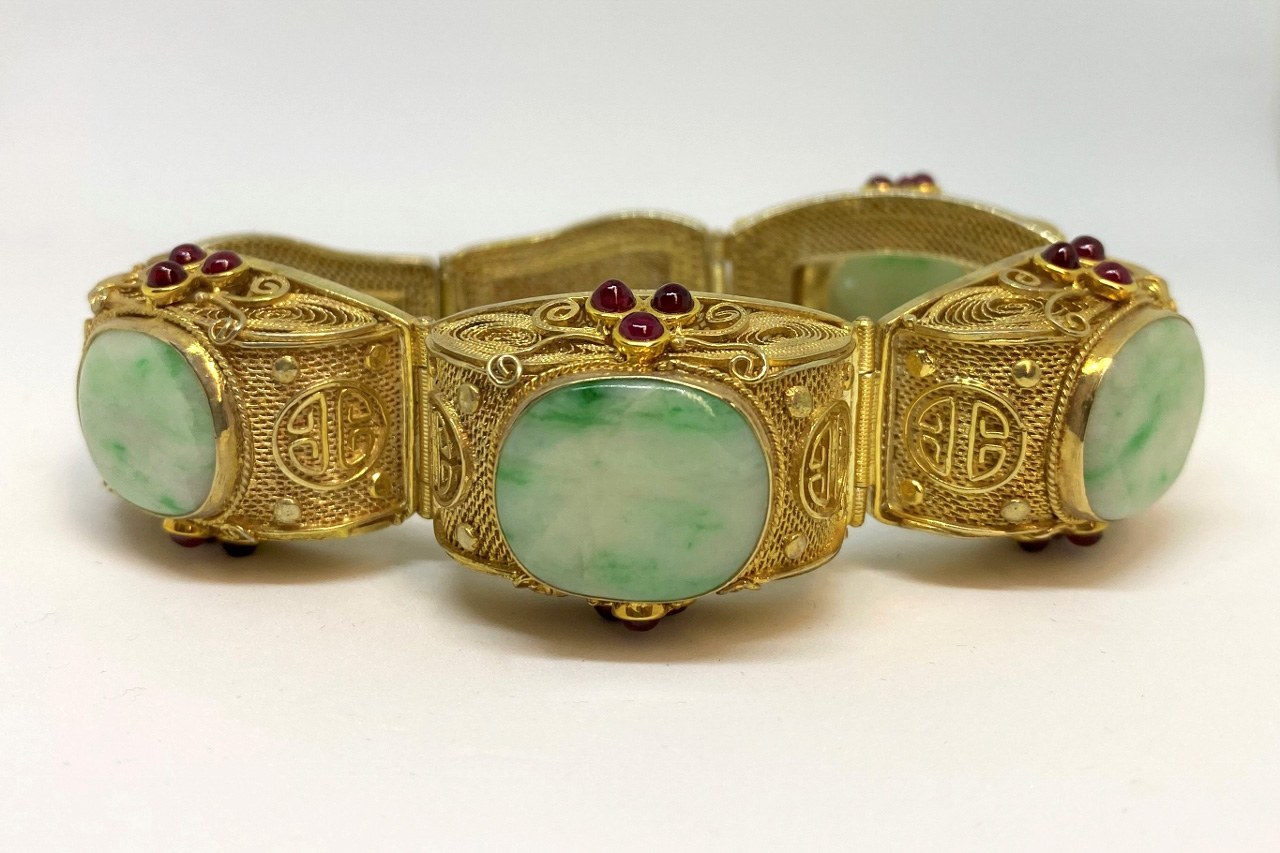 An Estate Vermeil Bracelet With Jade