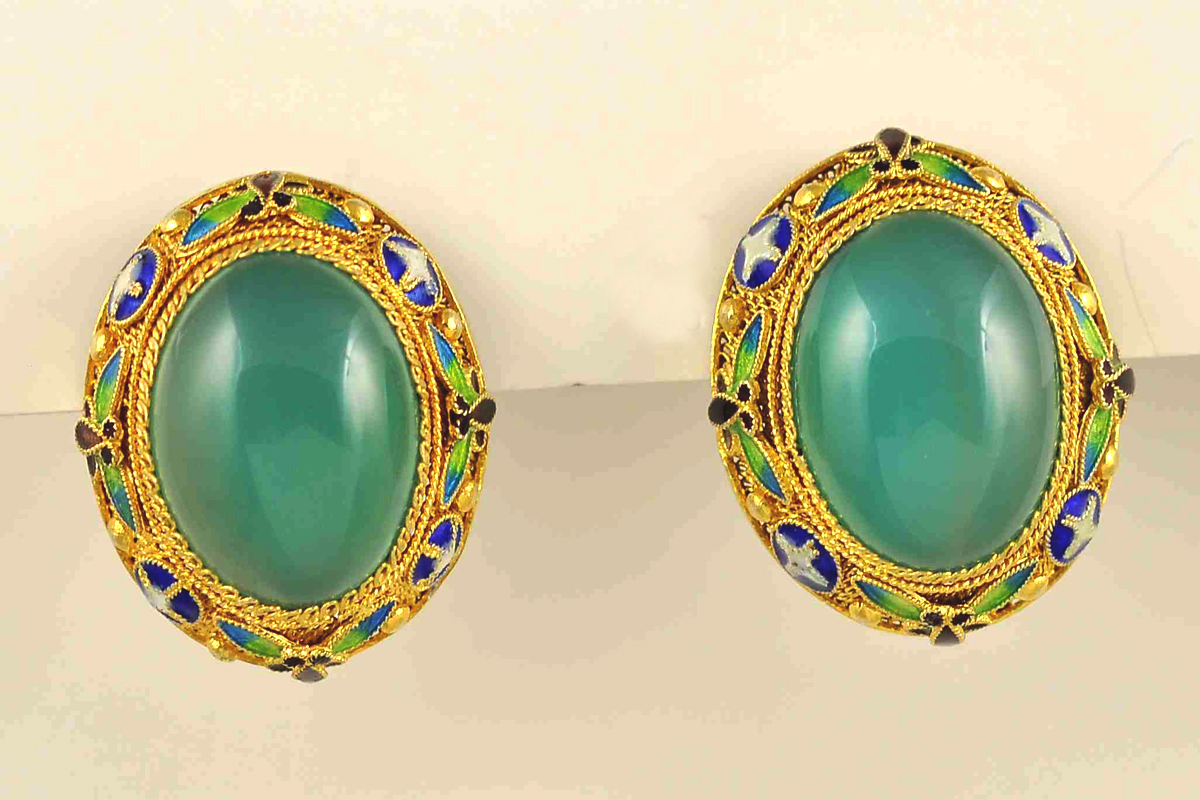 Estate Earrings with Green Carnelians & Enamel