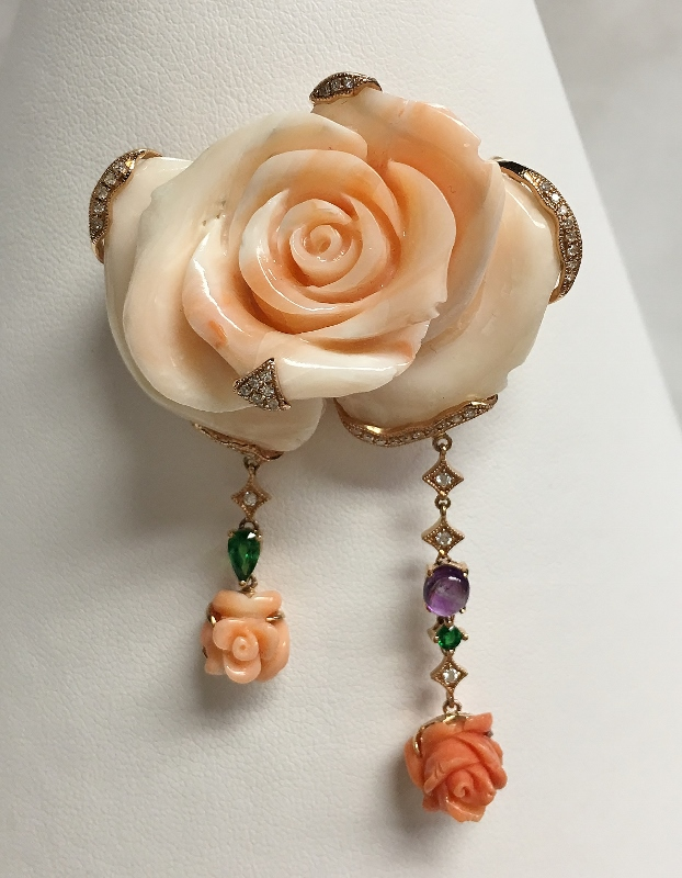 Rose Design Coral And Diamond Pendant/Brooch