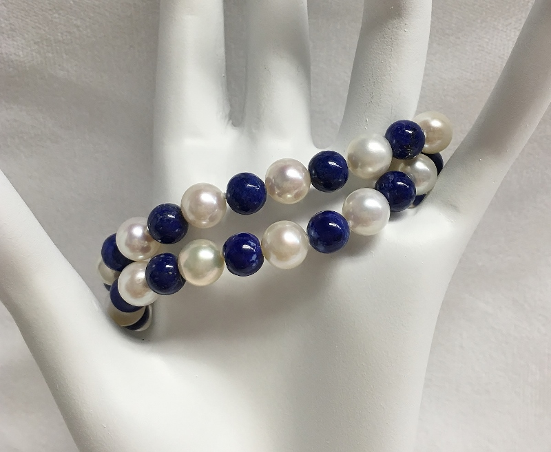 Double Strand Lapis & Pearl Bracelet