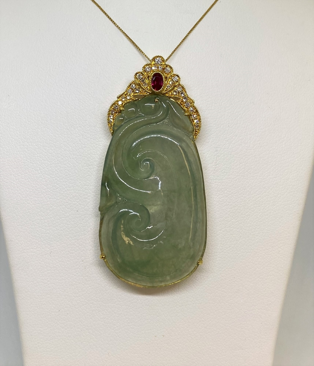 Yellow Gold Green Jade, Diamond, & Ruby Pendant
