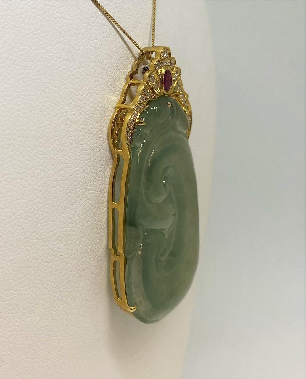 Yellow Gold Green Jade, Diamond, & Ruby Pendant