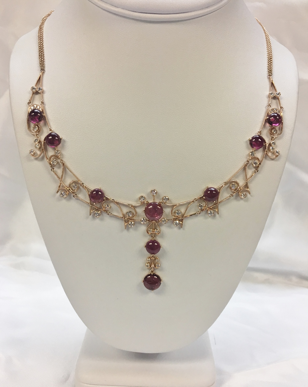 15 Carats Pink Tourmaline Rose Gold Necklace