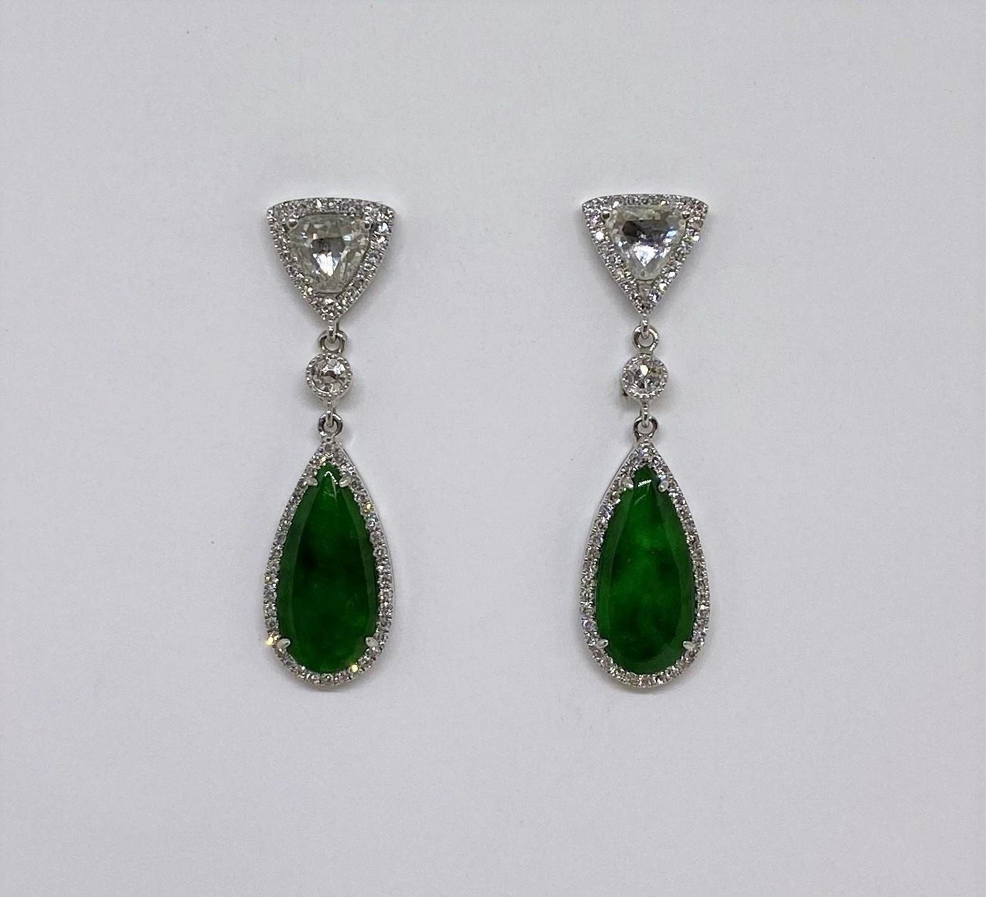 White Gold Dangling Jade Diamond Earrings