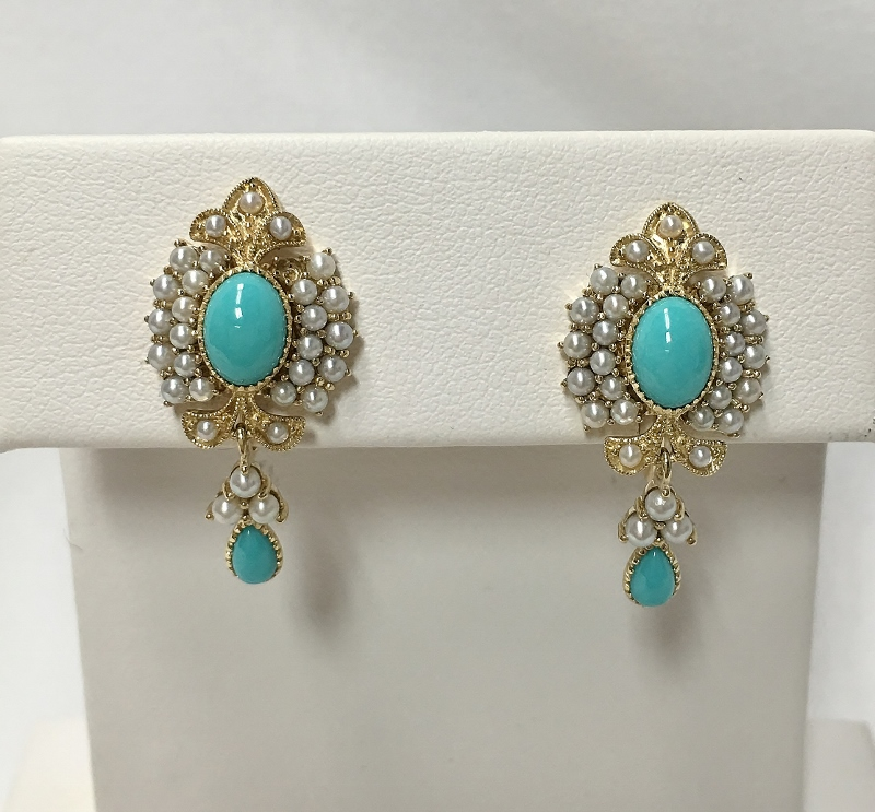 10K Yellow Gold Turquoise & Pearls Earrings