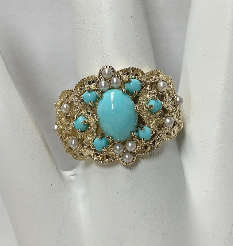 10K Yellow Gold Turquoise & Pearl Ring