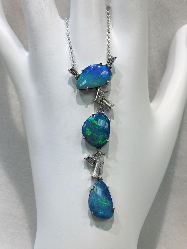14K White Gold Australian Opal Diamond Necklace
