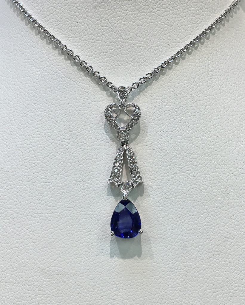18K White Gold Over 1 Carat Sapphire & Diamond Necklace