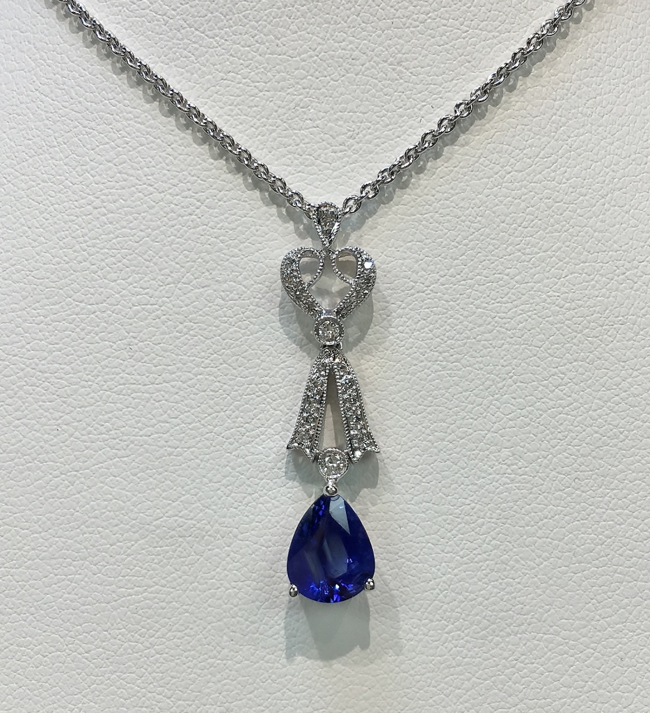 18K White Gold Necklace Sapphire Diamond Necklace