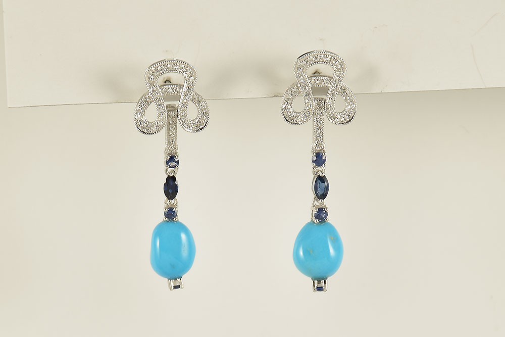 White Gold Dangling Turquoise, Sapphire, Diamond Earrings