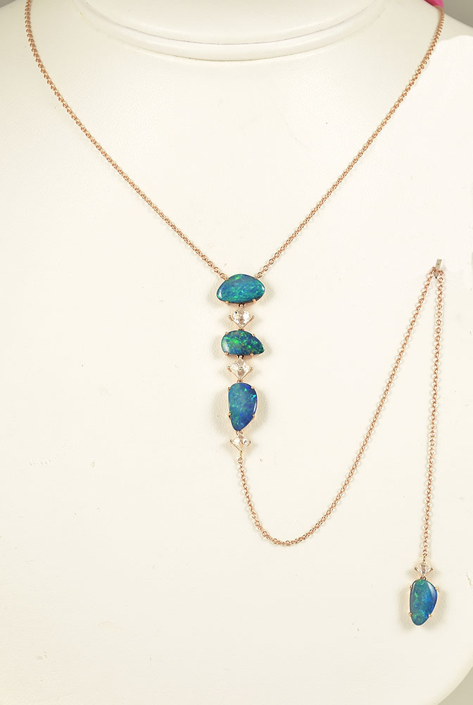 Rose Gold Australian Opal & Diamond Dangling Necklace